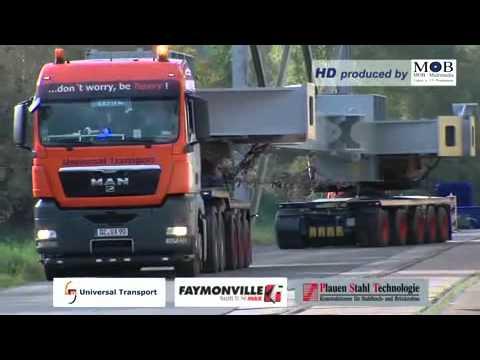 Universal Transport mit Faymonville-Selbstlenker-Tieflader auf Fahrt .avi