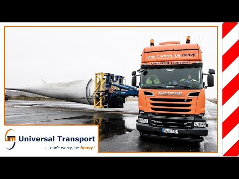 Universal Transport - Transport of a rotor blade with a Self steering trailer