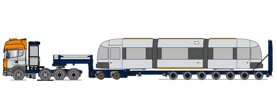 Přepravník na kolejová vozidla, s modulovými nápravami, hydraulickou rampou, roztažitelný